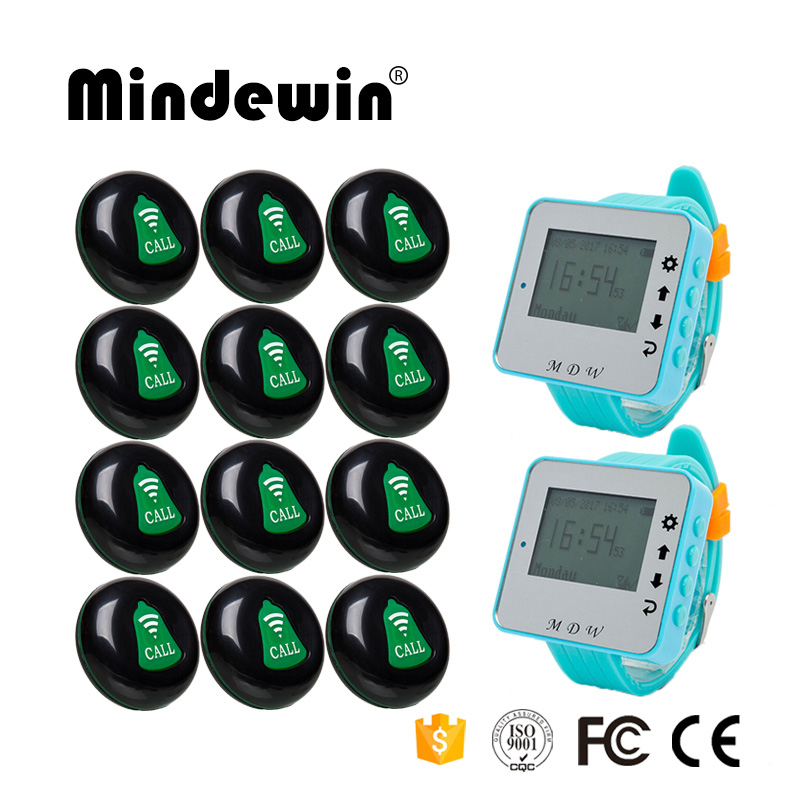 Mindewin Wireless Waiter Service Calling System 12PCS Service Button M-K-1 + 2PCS Wrist Watch Pager M-W-1 wireless pager system 433 92mhz wireless restaurant table buzzer with monitor and watch receiver 3 display 42 call button