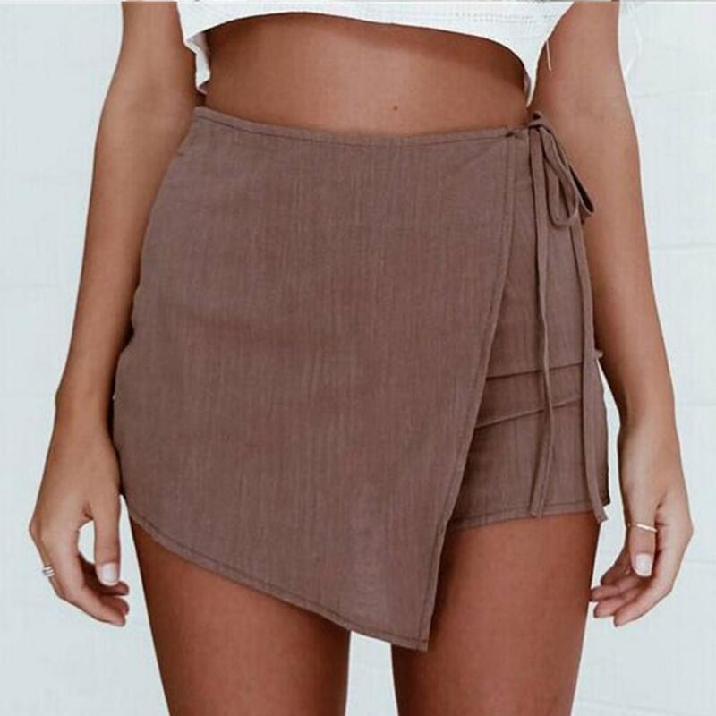 2018 Spring Autumn Irregular Skirts Women Vintage High Waist Slit Skirt Fashion All-Matched Mini Skirts Femme Юбка