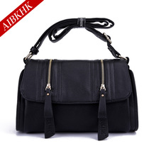 AIBKHK Women's Genuine Leather Simple  Handbag Two Ply Cow Leather Two Rows of Zipper Messenger Bag Shoulder Cross Body Bag M001