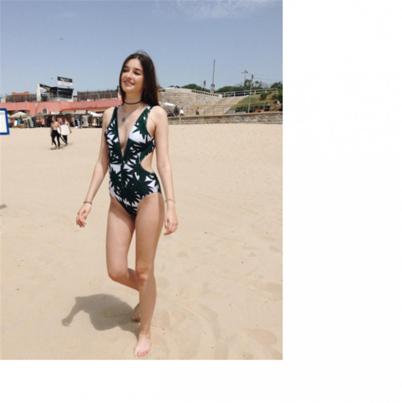 937335e17c28 Zaful Sexy Bikini Self Tie Backless Deep V Neck Plunge Swimwear Palm Tree  High Leg Swimsuit Tropical Slimming Bathing Suits -in Bikinis Set from  Sports ...