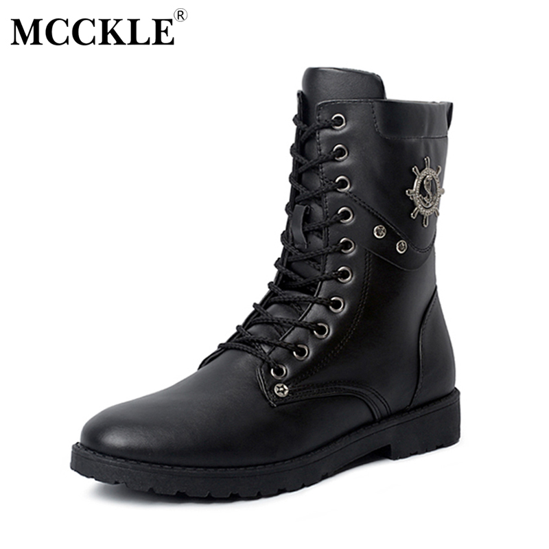 MCCKLE Man Military Combat Lace Up Mid-Calf Motorcycle Boots Male Spring Autumn Platform Fashion Shoes Brand Designer Black double buckle cross straps mid calf boots
