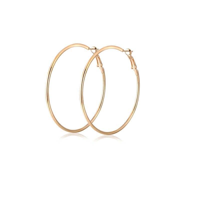Nova moda sliver ouro rosa cor de ouro grande hoop brincos hoop brincos boêmio círculo hoop brincos para festa feminino jóias