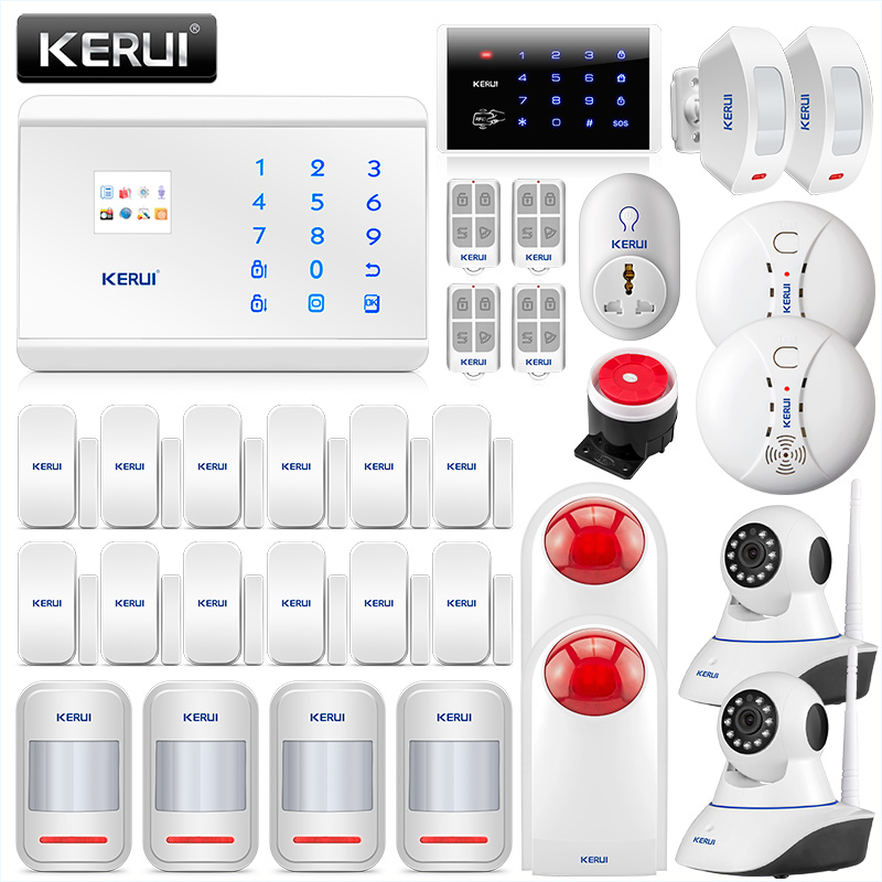 KERUI Home Burglar Alarm Security System GSM PSTN With Door/Windows Senor Alarm Motion Detector , Smoke Detecor And IP Camera