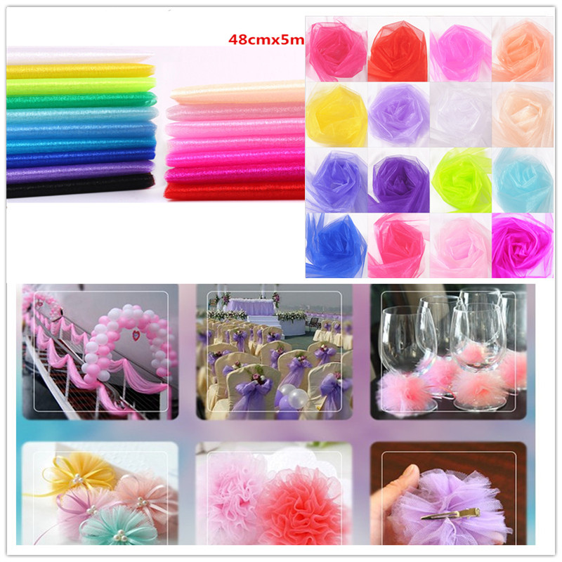 48cm X 5m Mariage Yarn Tulle Roll Sheer Crystal Organza Fabric Birthday Event Party Supplies for Wedding Decoration Baby Shower in Party DIY Decorations from Home Garden