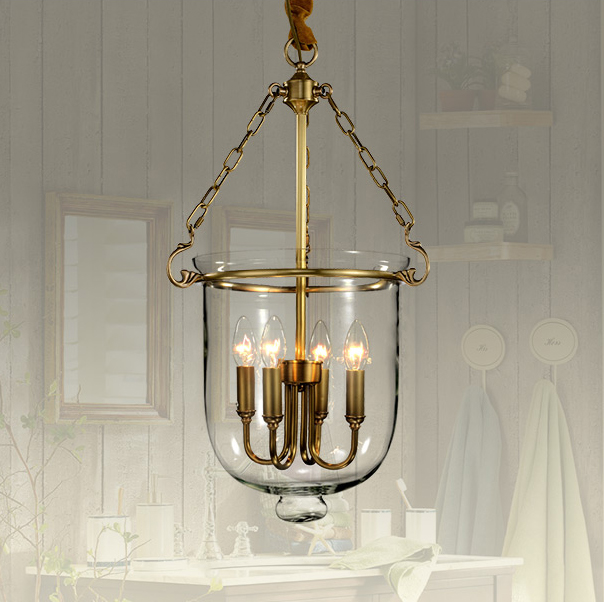 American Country 100% Copper Glass Droplight Vintage Pastoral Pendant Lights Fixture Home Indoor Dining Room Restaurant Lighting