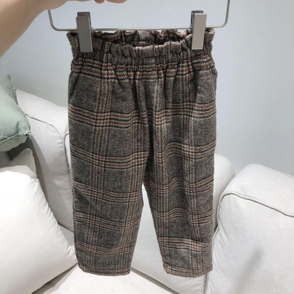 Pre sale August 2th girls wool pants plaid pattern winter autumn girls trousers boutique boys girls winter pants