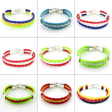 New Canada Italy Flag Rope Surf Handmade Braided Leather Bracelet Wristband Wholesale Dropship Mens Womens Friendship Jewelry(China)