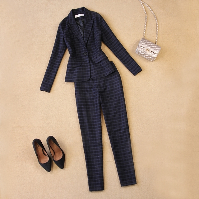 Women's high-quality autumn and winter the new England wool plaid Slim suit +9 pants feet pants suit