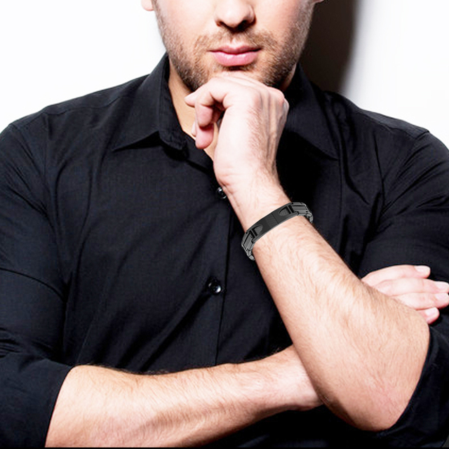 Channah 2017 Titanium Black Bracelet For Men 4-in-1 Magnetic Jewelry Black Carbon Fiber Stylist Bangle Germanium Wristband Charm