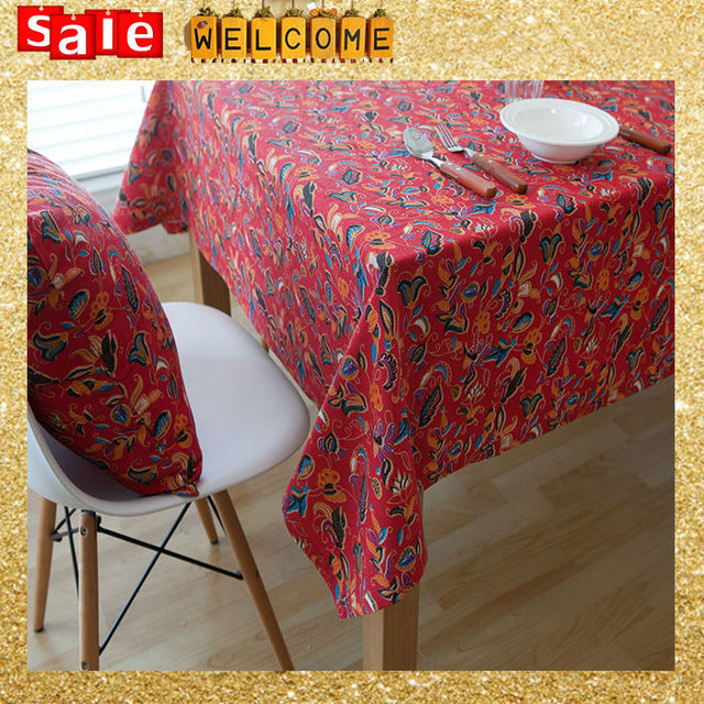 Ethnic Chinese Cotton Table Cloth Red Flower Leaf Print Nappe Bohemia  Fabric Tablecloth Dustproof Coffee Table