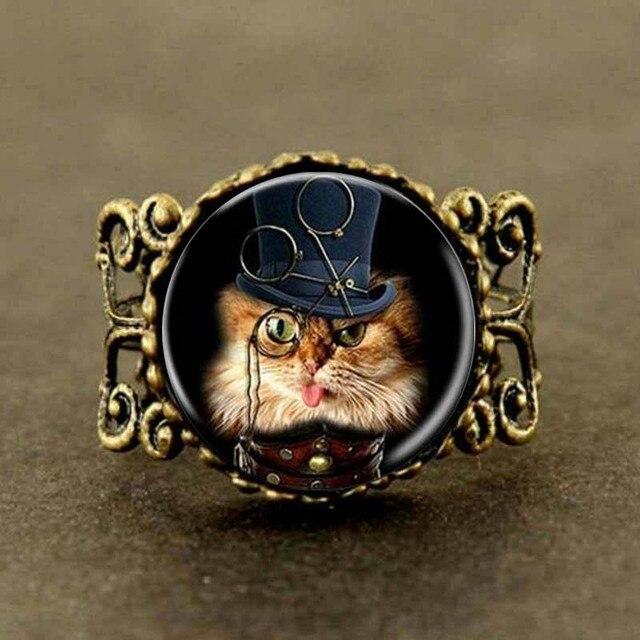 c8e97d7c45af Steampunk 2017 Nuevo Monocle gato amante arte anillo de vidrio gato anillo  mujeres hombres regalo