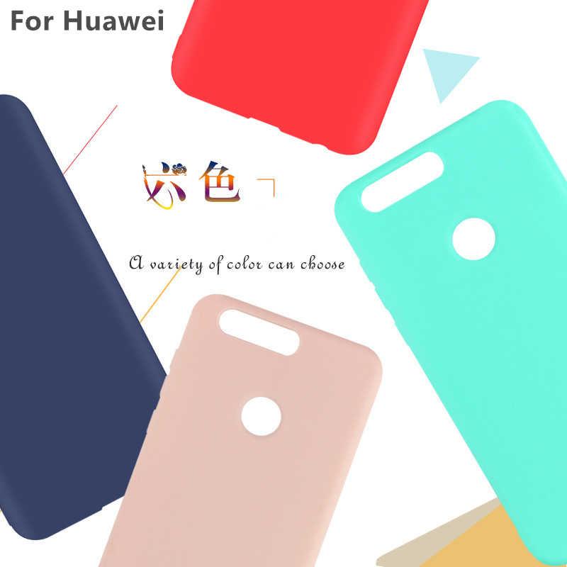 2018New Matte Kẹo Silicone Case Cho Honor 7X 6A 9 8 6X Mềm TPU bìa Cho Huawei P10 P9 P8 Lite 2017 Nova 2 s 2 Cộng Với Túi Điện Thoại