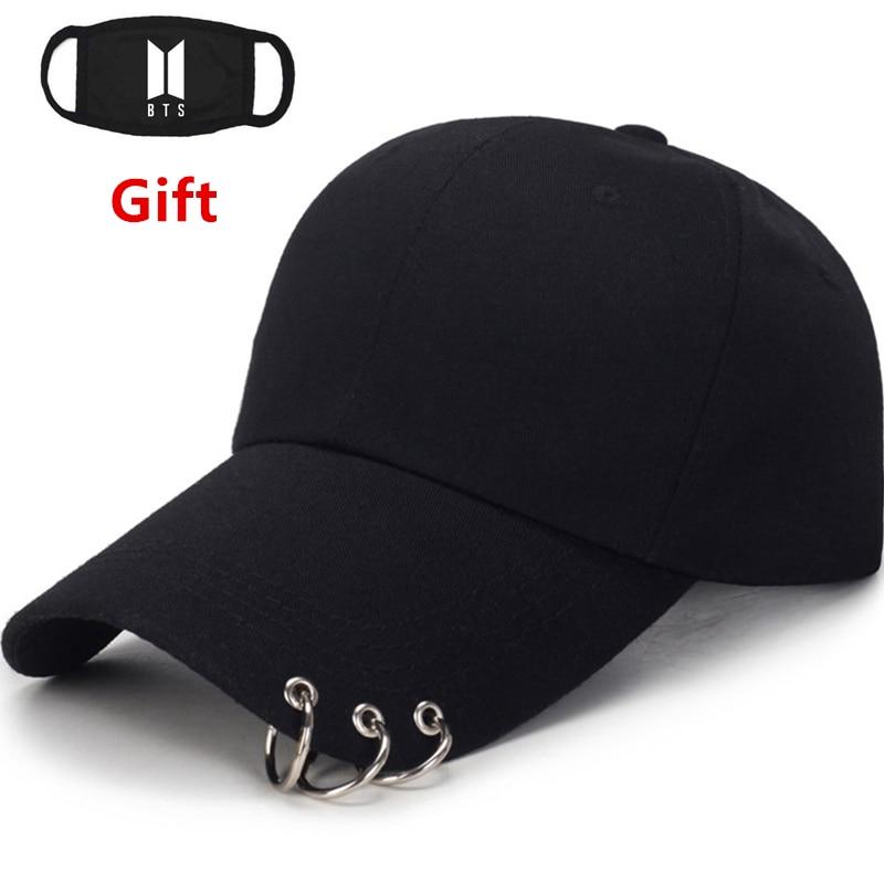 Mask as Gift Rapper Bboy dancer DJ BTS Bangtan Boys   cap   metal three rings   baseball     cap   men women hip hop adjustable   cap