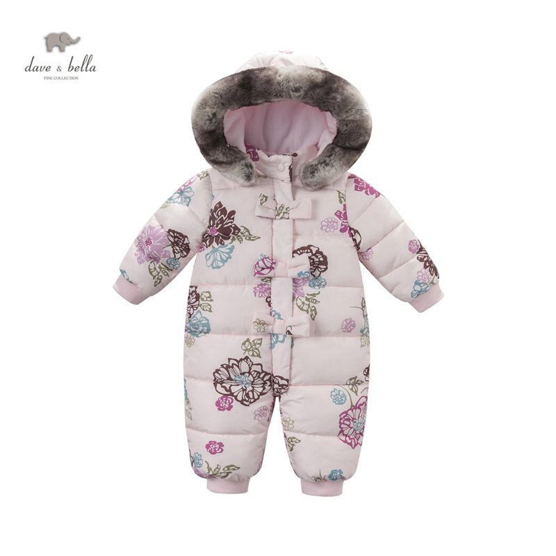 DB3614 dave bella  winter infant printed romper baby girls padded hooded romper one piece