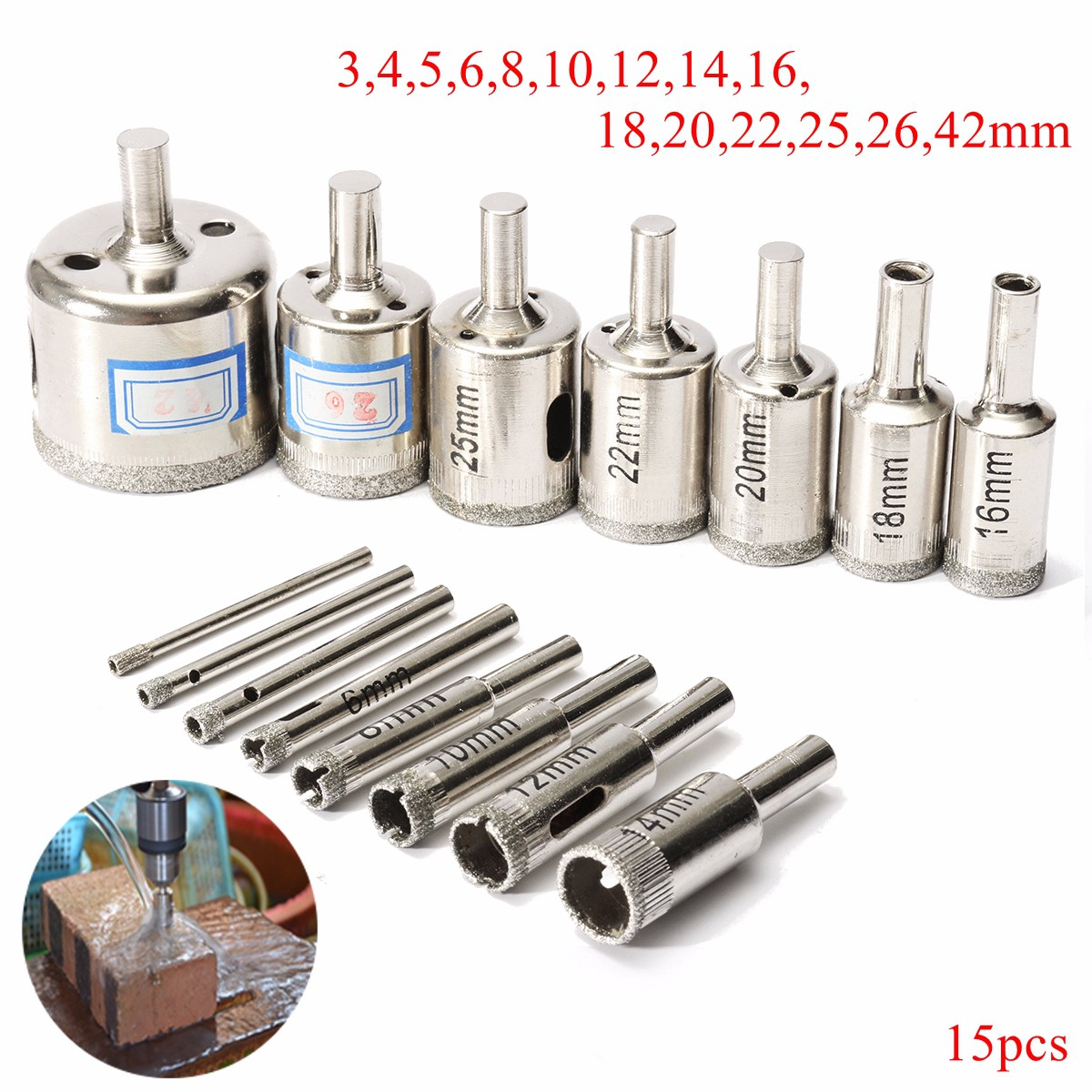 15pcs Hole Saw Set Marble Core Drill Bits 3mm-42mm Diamond Cutter Tool For Glass Marble Tile Ceramic Glass Cutting Drilling