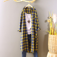 2018 Summer New Women Extra Long Plaid Shirt Female Lady Loose Shirts Fashion Outwear coat Tops 100% cotton Free size