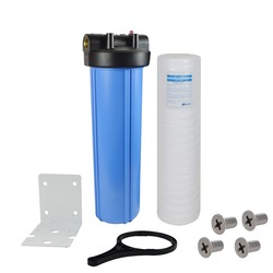 1-Stage Whole House Water Filtration system with 20-Inch String Wound Filter 20Micron,Mounting bracket ,Screw&Wrench  ,1 inlets