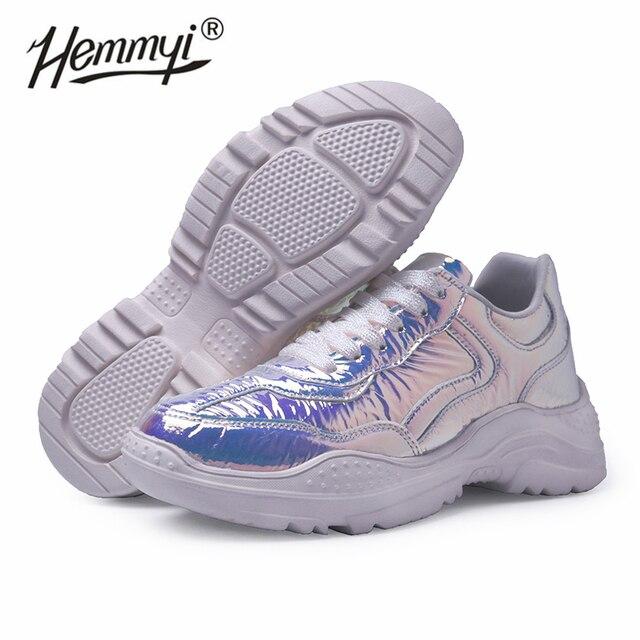 Baskets de styliste à paillettes pour femmes, baskets de luxe à plateforme lumineuse, tennis épais, chaussures décontractées