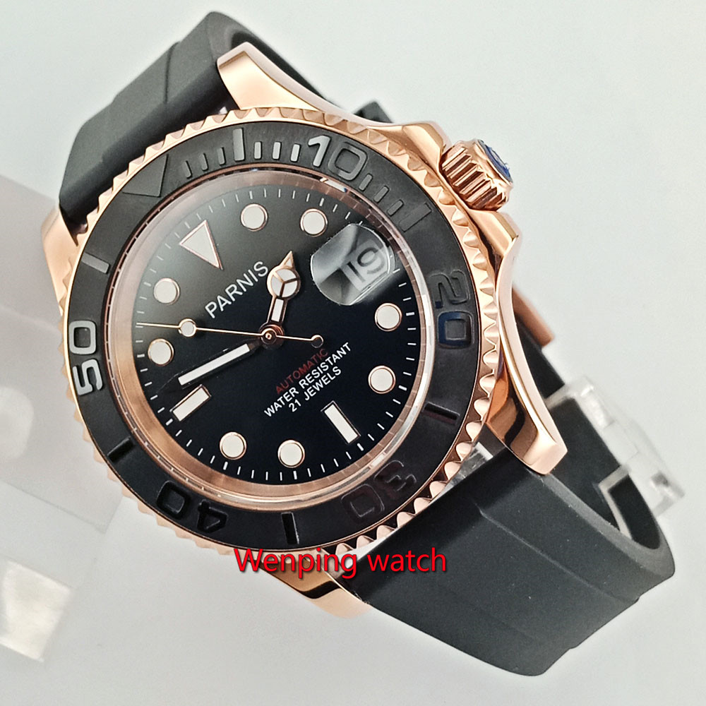 41mm Parnis Black Dial Sapphire Glass Luminous Marks Luxury Brand Automatic Movement men s Watch