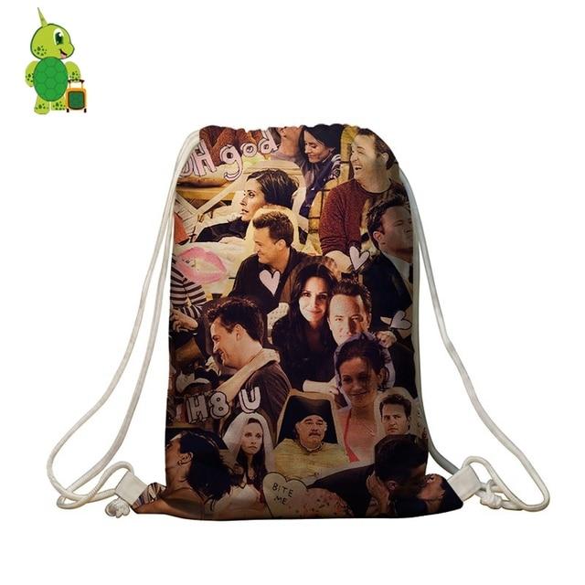Classical Tv Show Friends Overlay Printing Drawstring Bag Women Men Daily Backpacks S Students Softback Travel