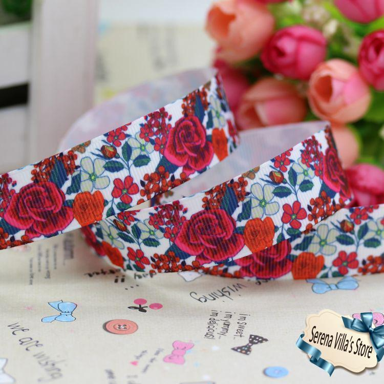 2014 new 7/8 rose printed grosgrain ribbon hairbow party decoration 22mm birthday gift paking christmas hair bows material