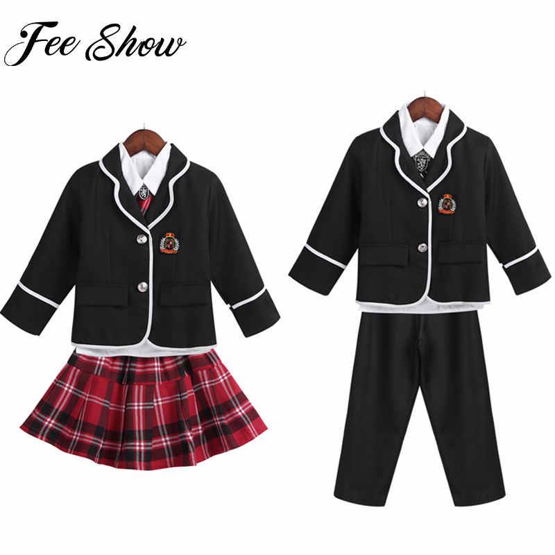 Niños/niñas uniforme escolar de estilo británico traje de Anime uniforme escolar japonés abrigo de manga larga con camisa pantalones de corbata/ mini falda