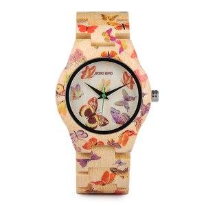 Image 4 - بوبو الطيور ساعة من خشب الخيزران المرأة مصمم الطباعة حركة الكوارتز الخيزران حزام السيدات ساعة اليد B O20