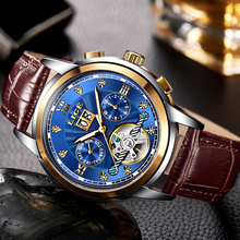 LIGE Mens Watches Diamond Automatic Watch Leather Waterproof Mechanical Military Sport Wristwatch Relogio Masculino