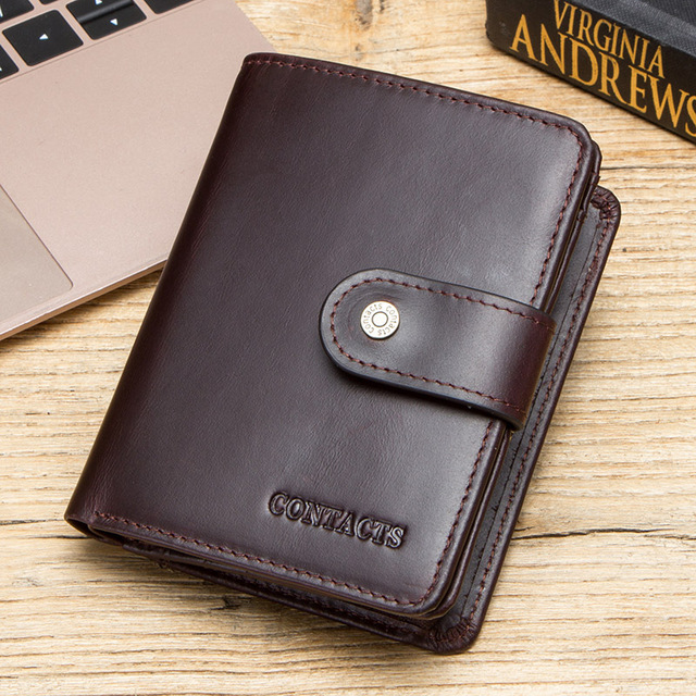 CONTACT'S genuine leather RFID men's wallet short coin purse small hasp walet partmon male short wallets men high quality cuzdan 5