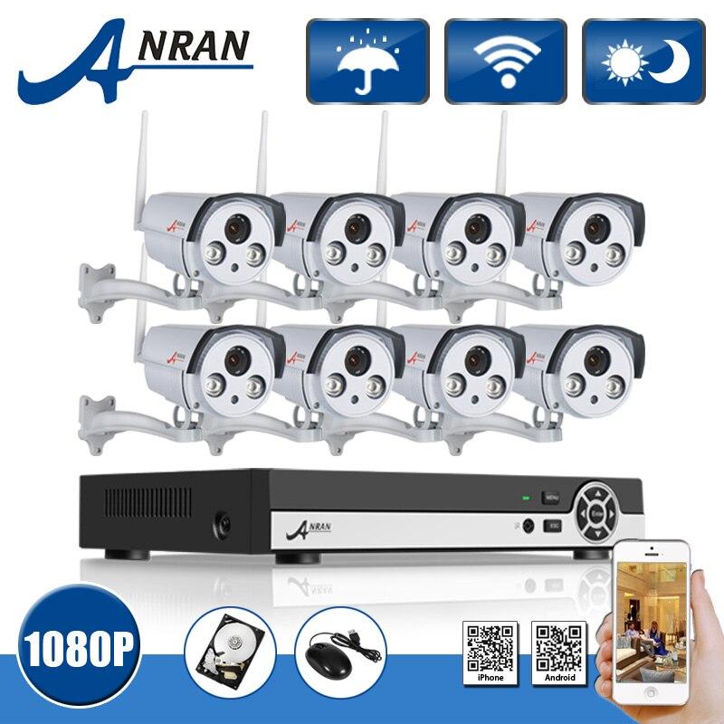 3TB HDD 8CH H 264 NVR Wireless CCTV System Onvif 2 0 MP 1080P HD Array