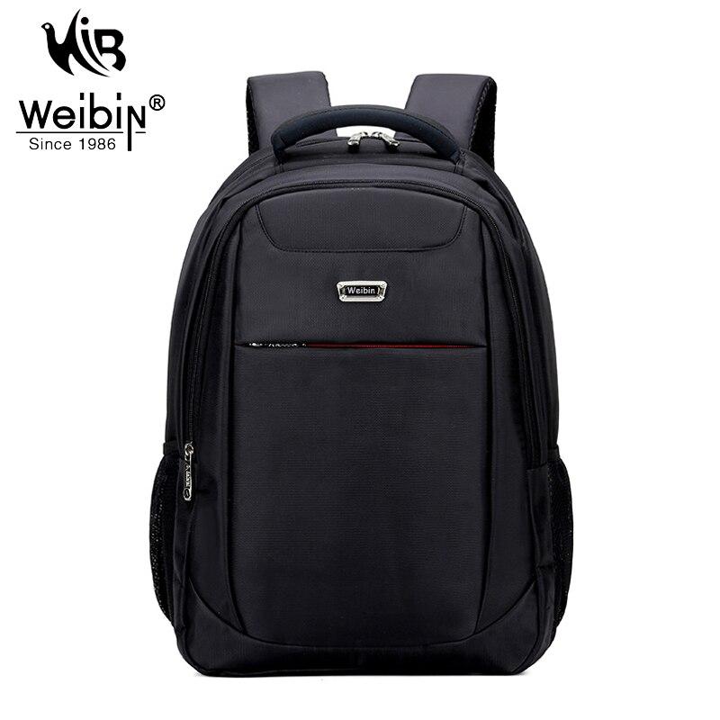 ФОТО Weibin Fashion Men's Backpack Nylon Travel Bags Male College School Backpacks For Teenager Quality Laptop Black Bagpack 2017