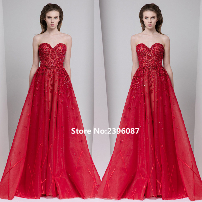 New Fashion Red Sweetheart Beaded A-Line   Evening     dresses   Long 2017 Sleeveless Formal   Evening   Gowns   Dresses   Robe de soiree longue