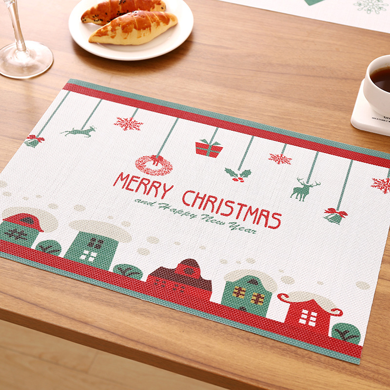 Us 3 4 15 Off 6 Style Merry Christmas Placemats For Dinner Table Heat Resistant Pot Tableware Mat Pad Xmas Decor Placemat Kitchen Mats In