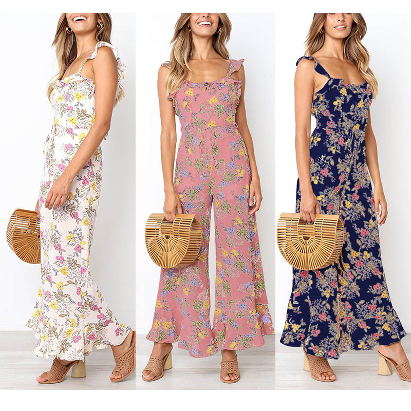 2019 New Women Summer Floral   Jumpsuits   Strappy Backless Sleeveless Ruffled Loose Pants CX17