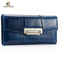 The First Layer Of Oil Wax Cowhide Fashionable Retro Wind Elegant Ladies Long Wallet New Fashion