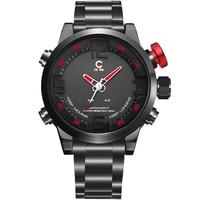 JeiSo Fashion Mens Watch Dual Digital LED Display Male Wristwatch Date Week Quartz Stainless Steel Army Sport Watches Relogio