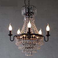 Indoor Kitchen lighting antique iron chandelier Villa hotel luxury crystal chandelier industrial lighting Club living room light|crystal lamp|crystal chandelierluxury crystal chandeliers -