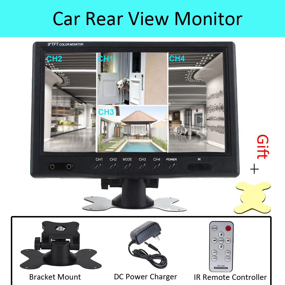 9 Inch TFT LCD Split Screen Quad Monitor Car Headrest Rear View Monitor with 4 RCA Connectors 6 Mode Display DC Power Adapter diysecur 4pin dc12v 24v 7 inch 4 split quad lcd screen display rear view video security monitor for car truck bus cctv camera