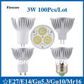 100 pcs/lot 3W E27/E14/Gu5.3/Gu10/Mr16 85-265V CE Warm/Pure/Cold/WhiteHigh Power LED Lamp/Spot lighting WSP09