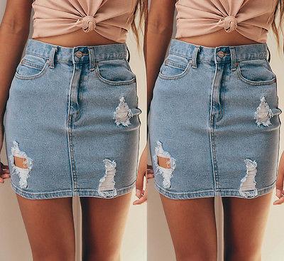 Fashion Womens Denim High Waisted Skirts Summer Sexy Bodycon Pencil Ripped Mini Skirts