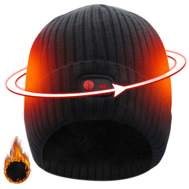 Unisex 7.4V Rechargeable Battery electric heated hat Beanies for winter cold weather 3 levels control men and women 1