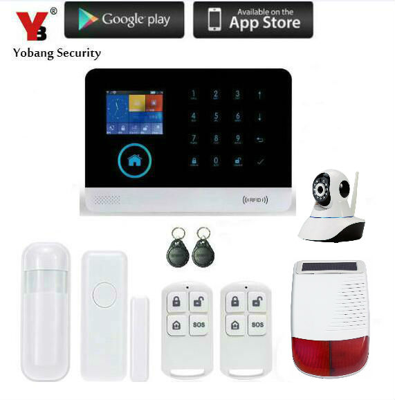 Yobang Security- Wifi Automation GSM Alarm System Home Intelligent GSM GPRS SMS Wifi Security Kits+WIFI camera Red Solar Siren yobang security rfid gsm gprs alarm systems outdoor solar siren wifi sms wireless alarme kits metal remote control motion alarm