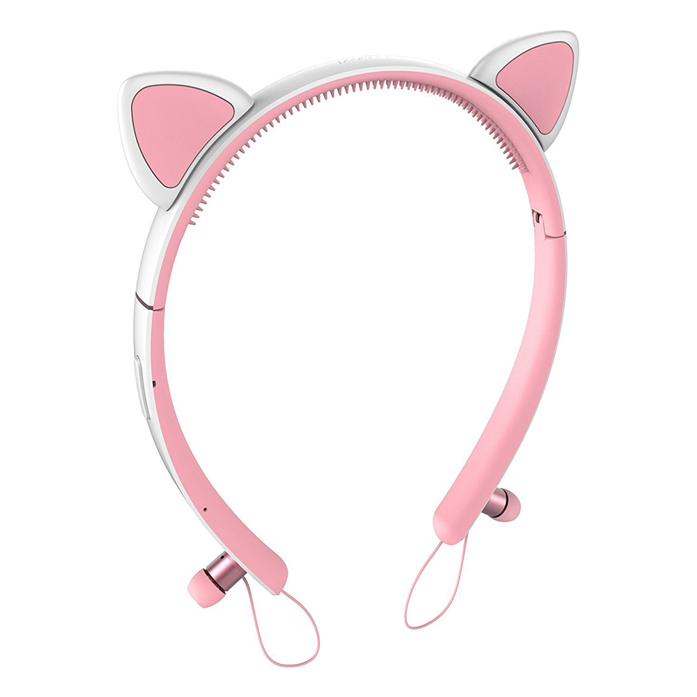 Volemer Wireless cat ear Headset Detachable Foldable Flashing Glowing bluetooth Gaming Headphone Earphone with Mic LED light foldable flashing glowing cat ear headphones gaming headset earphone with led light luminous for pc laptop computer mobile phone
