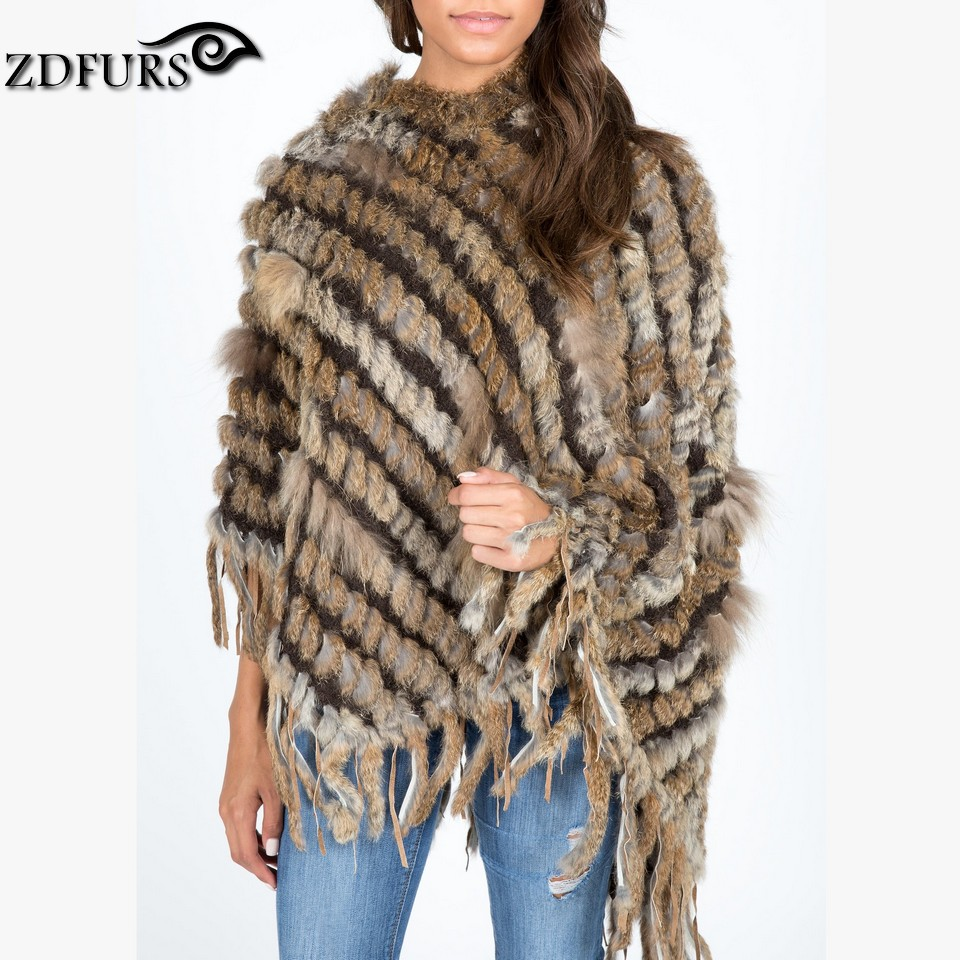 Knitting Pattern For A Hooded Cape Cloak Or Poncho : ZDFURS * hot sale knitted rabbit fur poncho with hood womens rabbit fur ...
