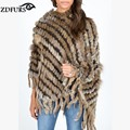 ZDFURS *  hot sale knitted  rabbit fur poncho with hood  women's rabbit fur knitted cape cloak hooded ZDKR-165007