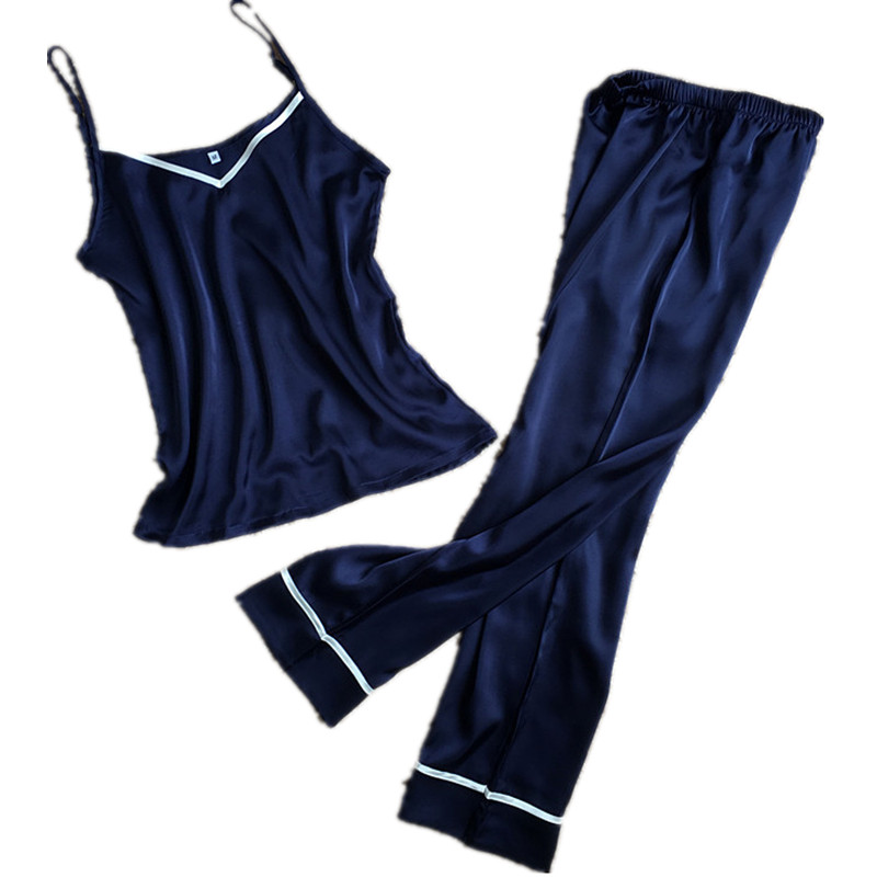 Free Fhipping Sleeveless Sexy Suspenders Tops + Long Pants   Pajamas     Sets   For Women Loose Style Summer Female Home Wear Pyjamas