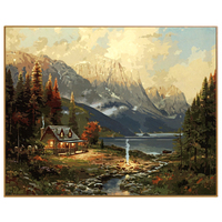 PHKV Hand Painted Diy Painting By Numbers Acrylic Landscape Forest House Framed New Home Decor Pictures