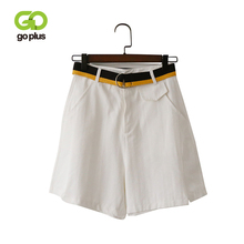 GOPLUS Shorts Women Vintage Solid High Waist Sashes Pockets Loose Boyfriends Jean Shorts Women Summer Korte Broek Dames C7915