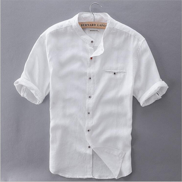 4499076ebf 2017 men s Mandarin Collar short sleeve natural linen cotton summer shirt  white sky blue front pocket slim casual shirts men