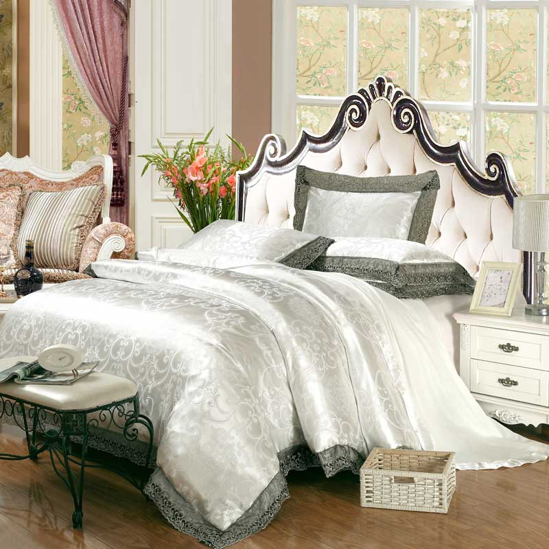 New Luxury Embroidery Tinsel Satin Silk Jacquard Bedding Set, Queen, King Size, 4pcs/6pcs 33